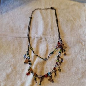 Drapping Necklace with Gem Chips and Beads